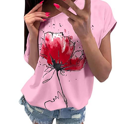 OVERDOSE Frauen Kurzarm Blumen Pumps Gedruckt Tops Strand Beiläufige Lose Bluse Top T-Shirt (EU-38/CN-M, X-ab-rosa)