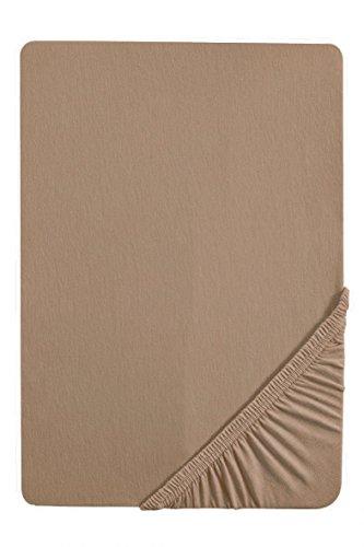 biberna 0077144 Feinjersey Spannbetttuch (Matratzenhöhe max. 22 cm) (Baumwolle) 90x190 cm -> 100x200 cm, macchiato