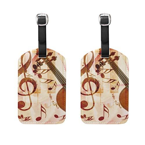 Etichetta per bagaglio per valigia bagaglio 2 pezzi Nota musicale Piano violino Etichette per indirizzo borsa da viaggio in pelle