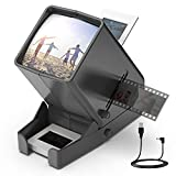 LED Lighted Illuminated Viewing for 35mm Slide and Positive Film Negatives,3X Magnification,USB Powered,Slide and Film Viewer,4AA Batteries Included