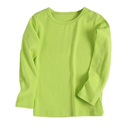 URSING URSING Kinder Super süß Langarmshirts Süßigkeit Clour Familienkleidung Langarmshirt Basic Schlichtes Einfarbige Sweatshirt Junge Mädchen T-Shirt Unisex Klassik Pullover (130CM, Grün)