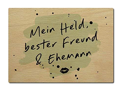Interluxe Postkarte aus Holz Mein Held, Bester Freund & Ehemann Karte