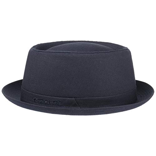 Stetson Athens Cotton Pork Pie Hoed Dames/Heren - Made in Italy katoenen player heren met voering voor Zomer/Winter - 54 cm donkerblauw