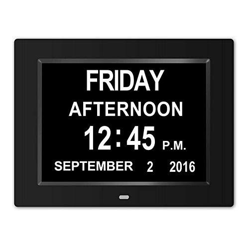 FPRW Reloj de día Digital de 8 Pulgadas con Calendario Alto, Reloj multifunción con Alarma LED de Letra Grande, para Anciano, Negro