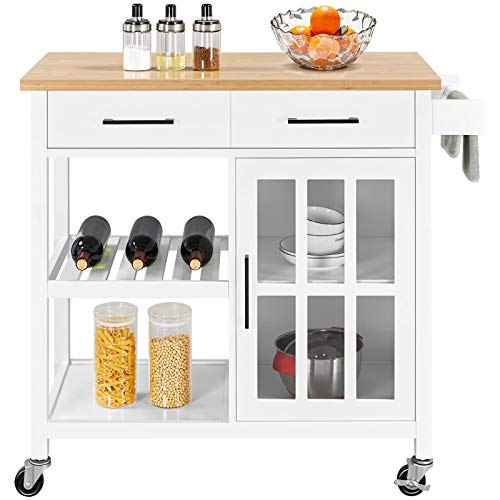 Rolling Kitchen Island w/Bamboo Top and Open Storage Now $128