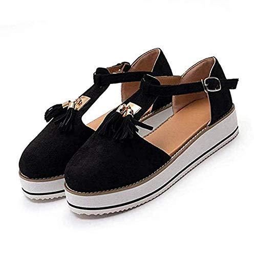 jdiw Sandalias de Vestir para Mujer Chanclas Cuña Shoes Plataforma Verano Cuero Confort Zuecos Baotou Borla Hebilla Sandalias Calzado al Aire Libre