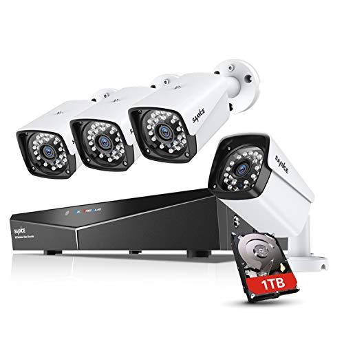 SANNCE 1080P Kit Videosorveglianza XPOE NVR 4 Canali 4 Telecamera Sorveglianza 1080P Videoregistratore 2MP Visione Notturna 100ft Accesso Remoto IP66 H.264 Bullet Camera POE 1TB HDD