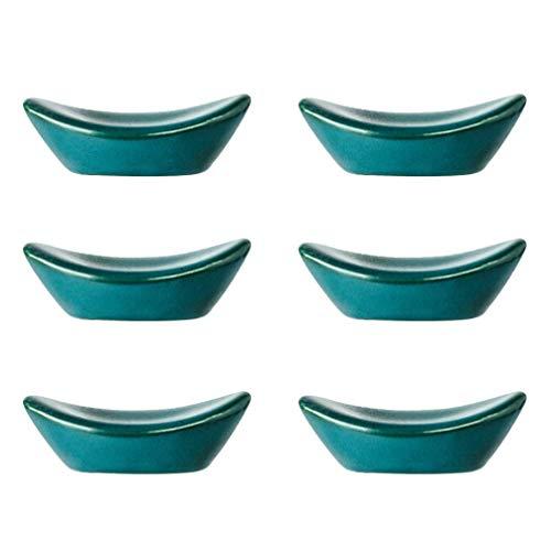 6 Stück glasierte Keramik Essstäbchen Rest Ingot-förmigen Löffel Gabelhalter Essstäbchen Kissenständer (Malachitgrün)