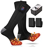BIAL Heated Socks, Electric Socks Foot Warmers Rechargable Battery Heating Thermal Winter Feet Boot Heater Warmer with Power Display for Men Women Sports Outdoor Climbing Hiking Skiing (Black + Gray)