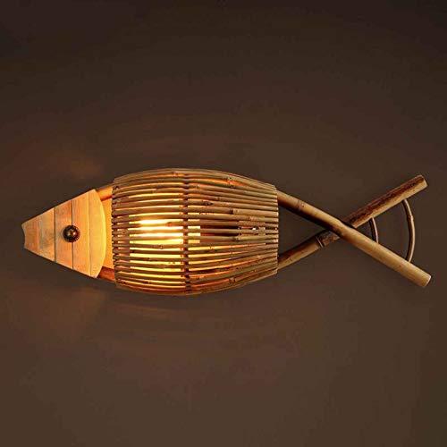YXNKK E27 Lámpara de Pared Rústico de Bambú, Forma de Pez de Mimbre, Aplique de Pared Vintage Interior, Luces de Pared Decoración Creativo para Restaurante, Dormitorio, Corredor, Salón (Sin Bombilla)