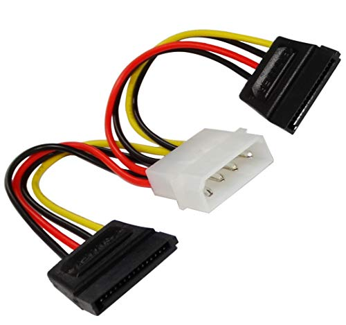 AERZETIX: Set van 2 adapters kabel 15cm MOLEX mannelijke naar dubbele SATA rechte vrouwelijke 4 pin pinnen. Wordt gebruikt om de harde schijf SATA cd dvd speler aan te sluiten op molex systeem C43430