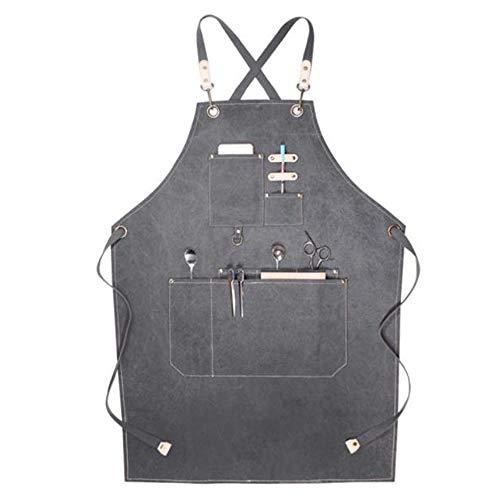 Camisin Delantal de lona con bolsillos, para hombres y mujeres, delantal impermeable para cocina y trabajo en el jardín, gris