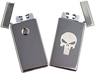 Dual Arc Plasma Punisher Skull Windproof Flameless Lighter Rechargeable USB
