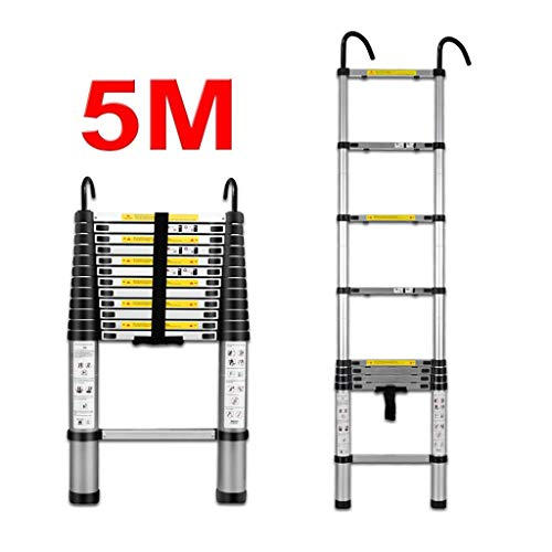 Qiangmei 5M/16.4FT Telescopische Ladder- Aluminium Vouwen Uitschuifbare Extension Ladder, Telescopische Loft Extension Ladder (Draagvermogen 150kg)