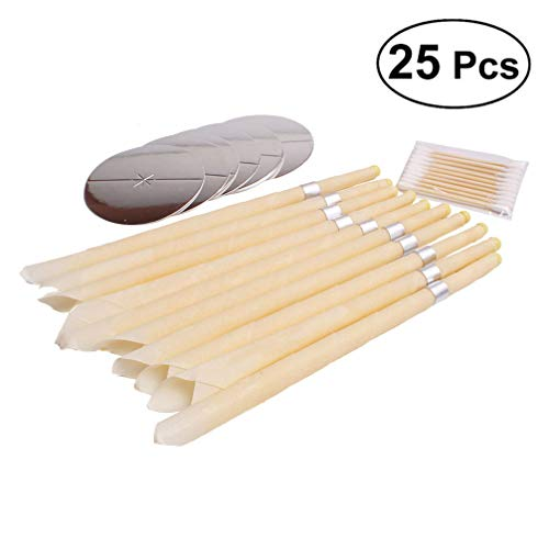 Milisten 10pcs Ear Wax Candle Cleaner Natural Healthy Care Wax Removal Beeswax Ear Wax Remover with 5pcs Trays with 10pcs Swab for Adults