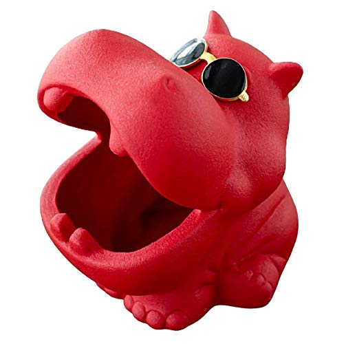 TEAYASON Ceniceros de Cerámica para Cigarrillos, Diseño de Hipopótamo, Portátil, Duradero, para Manualidades, Decoración Del Hogar, Accesorio, Regalo,Rojo