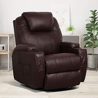 Esright Massage Recliner Chair Heated Brown PU Leather Ergonomic Lounge 360 Degree Swivel Sofa