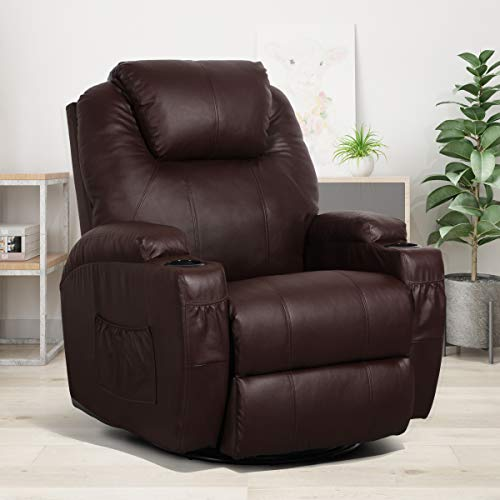 Esright Massage Recliner Chair Heated Brown PU Leather Ergonomic Lounge 360 Degree Swivel Sofa