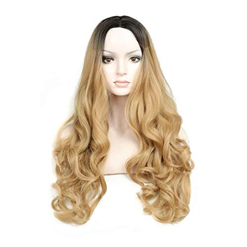 XYW-Jung Frauen-PerüCke-Bequemes Breathable Haar-Netz-NatüRliche Frisur Und HitzebestäNdiges Hohes Dichte-TäGliches ZubehöR-Abendkleid-Ball-WellenföRmige Lange Lockige Leinen-Gelb 27 Zoll XYW-0004