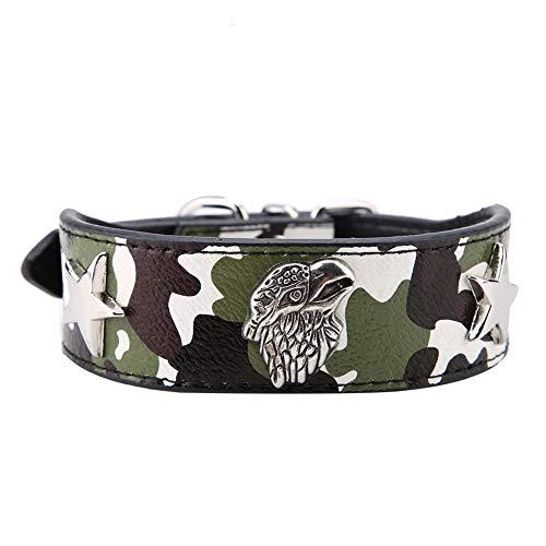 TOPINCN Collar para Mascotas De Moda Suave Cómodo Cachorro De Cuero De La PU Pitbull Perros Pequeños Y Medianos Anillo para Mascotas Decoración De Animales De Punto(XL- Verde)