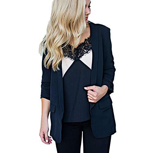 Xmiral Damen Mantel Solide Open Front Bow Cardigan Langarm Solide Blazer Lässige Anzugjacke (M,Schwarz)