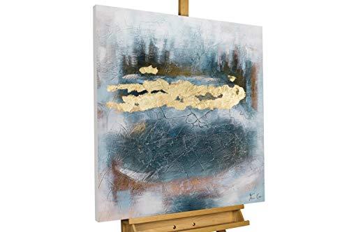KunstLoft® Acryl Gemälde 'Das Tiefe Gold' 80x80cm | original handgemalte Leinwand Bilder XXL | Abstrakt Risse Gold Blau | Wandbild Acrylbild Moderne Kunst einteilig mit Rahmen