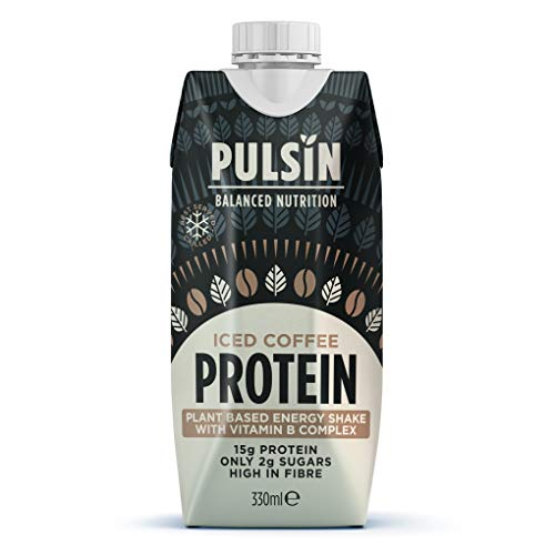 Pulsin Iced Coffee Protein Shake Multipack with Vitamin B Complex, High Protein, Low Sugar, Gluten-Free, All Natural & Made with Columbian Arabica Coffee - 12 x 330ml Cartons