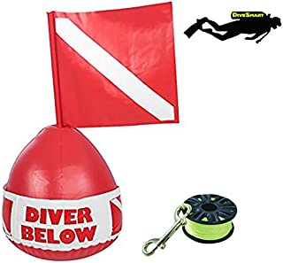 DiveSmart Buoy Float with 100ft High Visibility Neon Yellow Scuba Finger Reel (ABS) for Surface Signalling