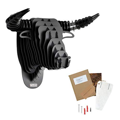Rerum & Consilium Wanddeko Stierkopf in schwarz Pulverbeschichtet I Made in Germany I 48 x 37 x 30 cm I 15 kg Eigengewicht I 3mm Stahl | Stier/Stiergeweih Deko