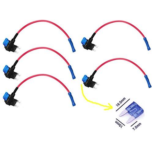 Qiorange ATM APM Flachsicherungsadapter Sicherungshalter Spannungsabgriff KFZ Flachsicherungen Autosicherungs (5Pcs)