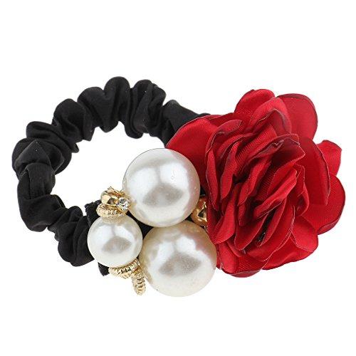 Baosity ChouChou à Cheveux Motif de Rose Perles Bande Elastique pr Femme Fille - Vin Rouge