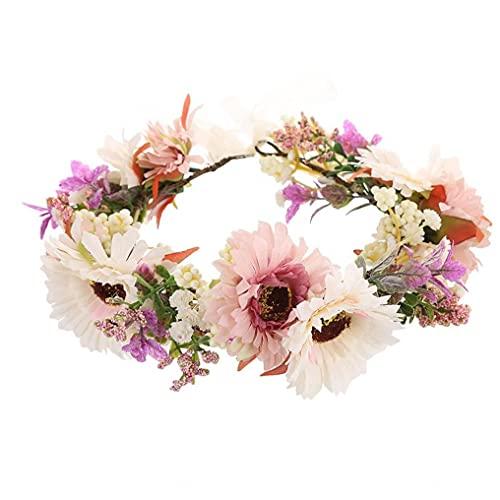 Fleur Couronne Headpiece nuptiale Couronne cheveux mariage naturel marguerites fleur Bandeau nuptiale tête Couronne de fleurs pour les filles Wedding Party vacances Accessoires
