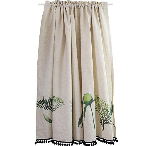 CMJM Kitchen Curtains for Windows Beige American Country Rural Style Cafe Short Panel Curtain Handmade Natural Linen Short Curtain 66×22in