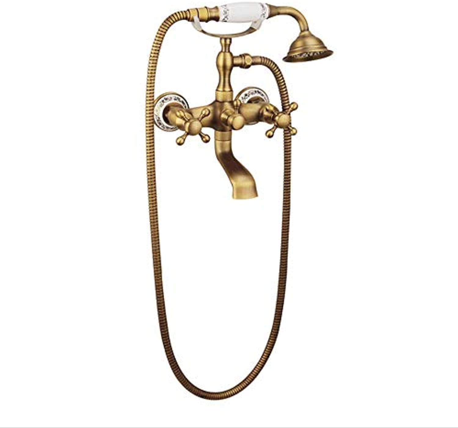 Bathroom Shower System, All Copper Retro Shower, Handheld Microphone Model, All Copper Knob Switch, bluee And White Porcelain Handle, A Variety Of Styles Optional, European Style,ceramichandle