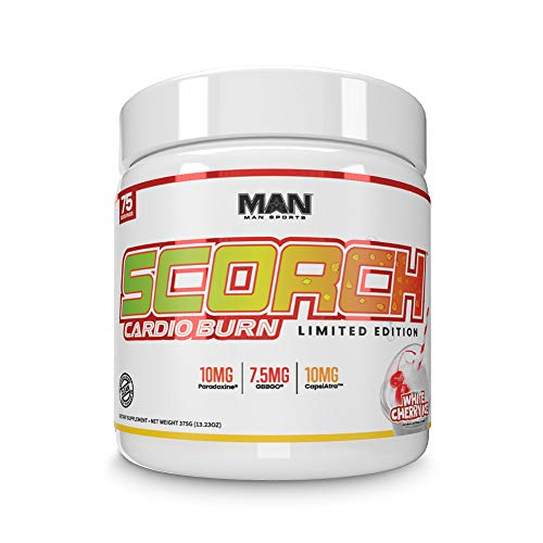 Man Sports Scorch Cardio Burn - Fat Burning Powder for Men and Women - Hunger Suppressant - Weight Loss Supplement - White Cherry Ice - 375 Grams, 75 Servings
