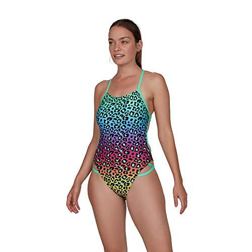 Speedo Jungleglare Placement Freestyler 1 Piece Badeanzug Damen M grünes Leuchten/schwarz/elektrisch Pink/Mango/pulverblau