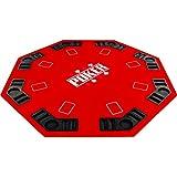 Maxstore Plateau de Poker Pliable Fullhouse pour jusqu'à 8 Joueurs de Poker octogonal, Dimensions?: 120 x 120 cm, Panneau MDF, 8 Porte-gobelet, 8 Chip Moyenne, Rouge