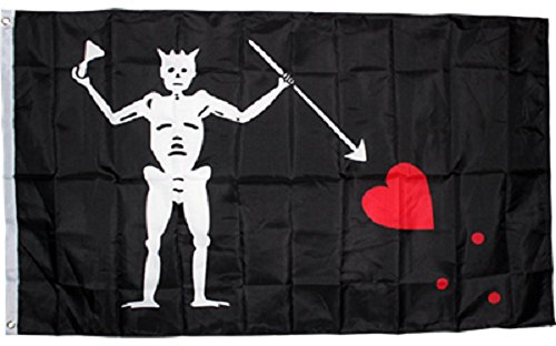 AES 3x5 Black Beard Blackbeard Pirate Rough Tex Knitted Nylon Flag 3'x5' Banner 100d House Banner Double Stitched Fade Resistant Premium Quality