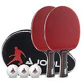 JOOLA Set Duo Pro 2 Raquetas 3 Pelotas de Ping Pong + Funda Protectora, Rojo y Negro, 6 Piezas