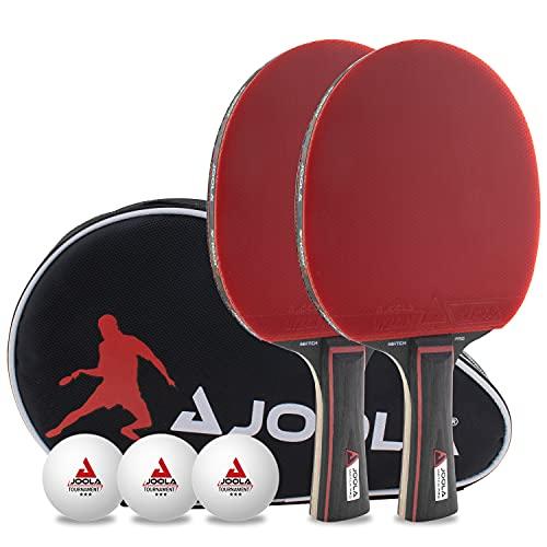 JOOLA Tischtennis Set Duo PRO 2 Tischtennisschläger + 3 Tischtennisbälle + Tischtennishülle, rot/schwarz, 6-teilig