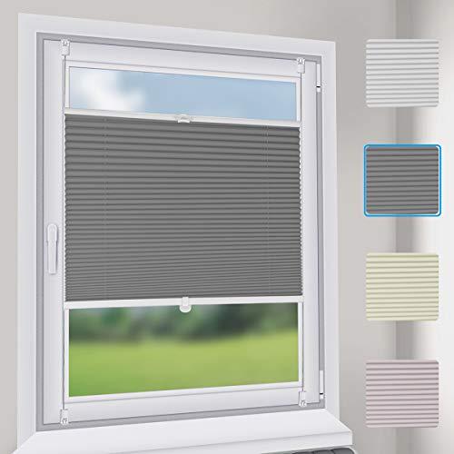 Sekey Premium Plissee - Hochwertiges Faltrollo ohne Bohren - 105 x 130cm - Jalousie für Fenster & Tür - Sonnenschutz - lichtundurchlässig - Grau