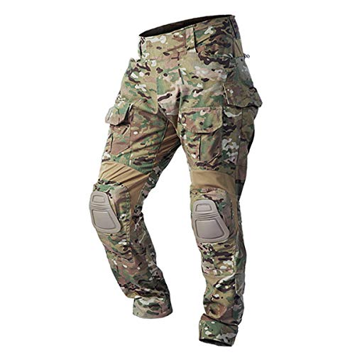 Combat Pants Tactical Pant with Knee Pads Multicam Rip-Stop Trousers Airsoft Hunting Pants (CP, L/34 (110~132LB), l)