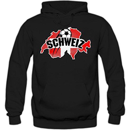 Schweiz WM 2018#1 Hoodie | Fußball | Herren | Nati | Trikot | Nationalmannschaft, Farbe:Schwarz (Black F421);Größe:S