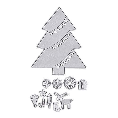 Lai-LYQ Troqueles Scrapbooking, Árbol de Navidad Copo de Nieve Plantillas de Troqueles de Corte DIY Gofrado Tarjeta de Papel Álbumde Silver
