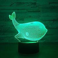 HGFHGD 3DファントムライトLEDナイトライト7色/ 16色可変タッチナイトライト、完璧なクリスマスと新年のギフト、男の子と女の子のかわいいクジラに適しています