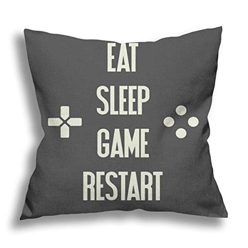 RDXX Eat Sleep Game Restart Video Gaming Flax Pillow Case Decorative Pillow Cushion Cover for Sofa Chair Bed Car Home Office Decor 45x45 cm