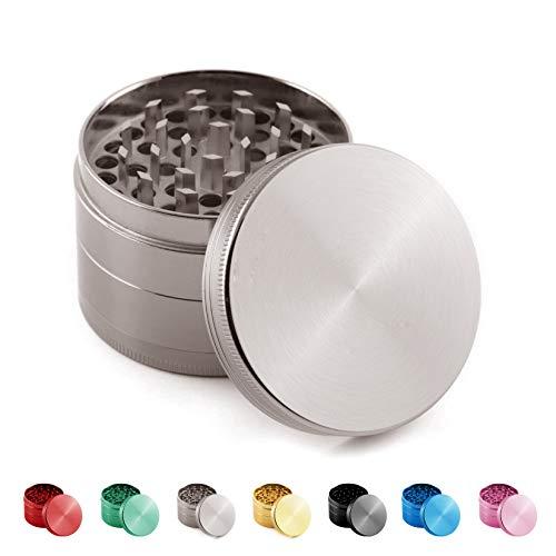 Vituzzi Grinder/Moledor de Especias Metálico de 4 Piezas con Tapa Magnética. Disponible en 75 o 55mm de Diametro. Disponible en 7 Colores. (55mm, Gun Metal)