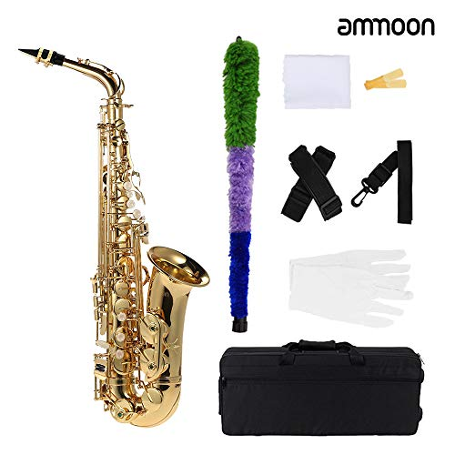 ammoon bE Alto Saxophone Brass Lacquered Gold E Flat Sax 802 Key Type Woodwind Instrument with Cleaning Brush Cloth Gloves Strap Padded Case