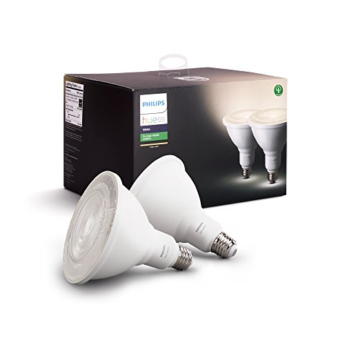 Philips Hue White Outdoor PAR38 13W Smart Bulbs (Philips Hue Hub required), 2 White PAR38 LED Smart Bulbs, Works with Alexa, Apple HomeKit and Google Assistant