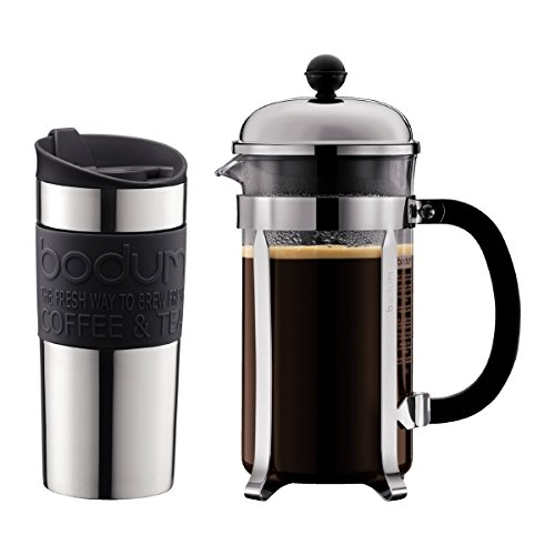 Bodum - K11068-01 - Chambord - Cafetera 8 tazas - 1,0 l + Travel Mug de acero inoxidable - 0,35 l